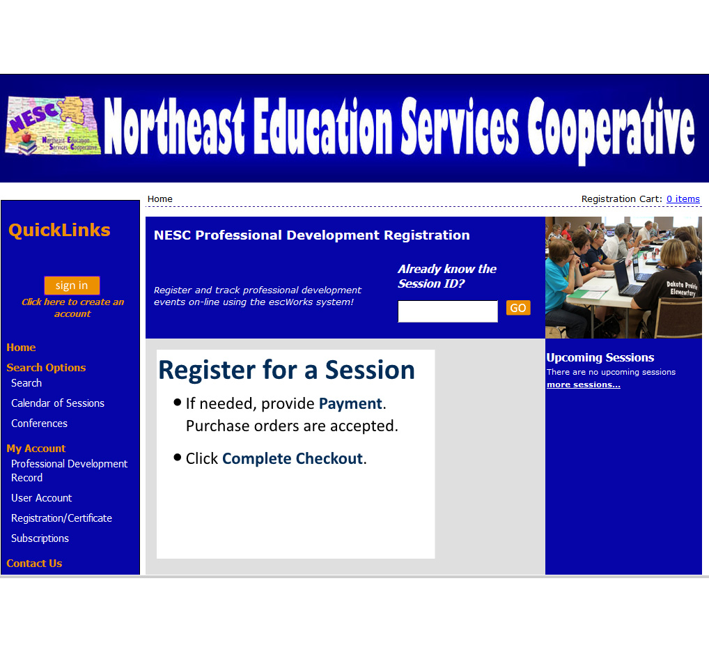 NESC's Event Registration Website